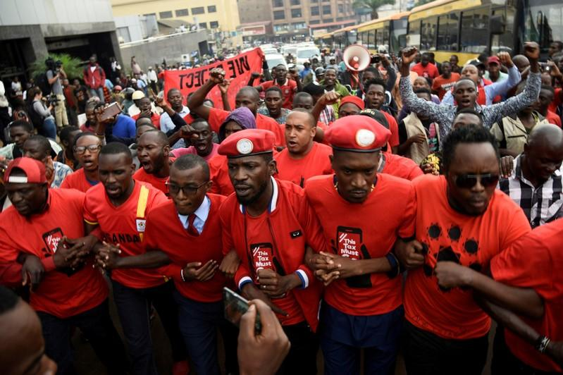 Police take Ugandan opposition leader Kyagulanyi home after he returns from abroad