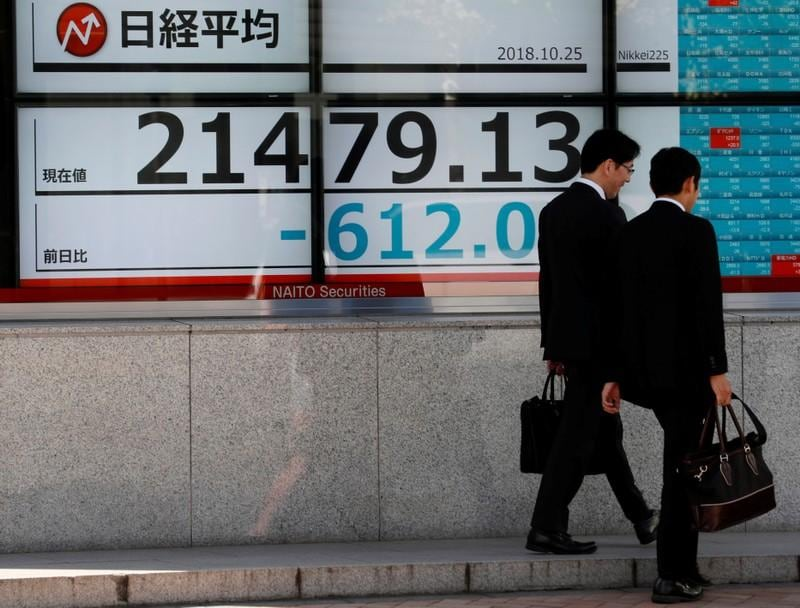 Asia down as Wall Street knocked by tech sell-off, dollar sags