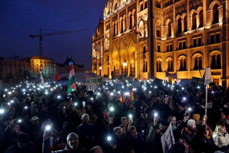 Students rally in Budapest to keep Soros-founded school