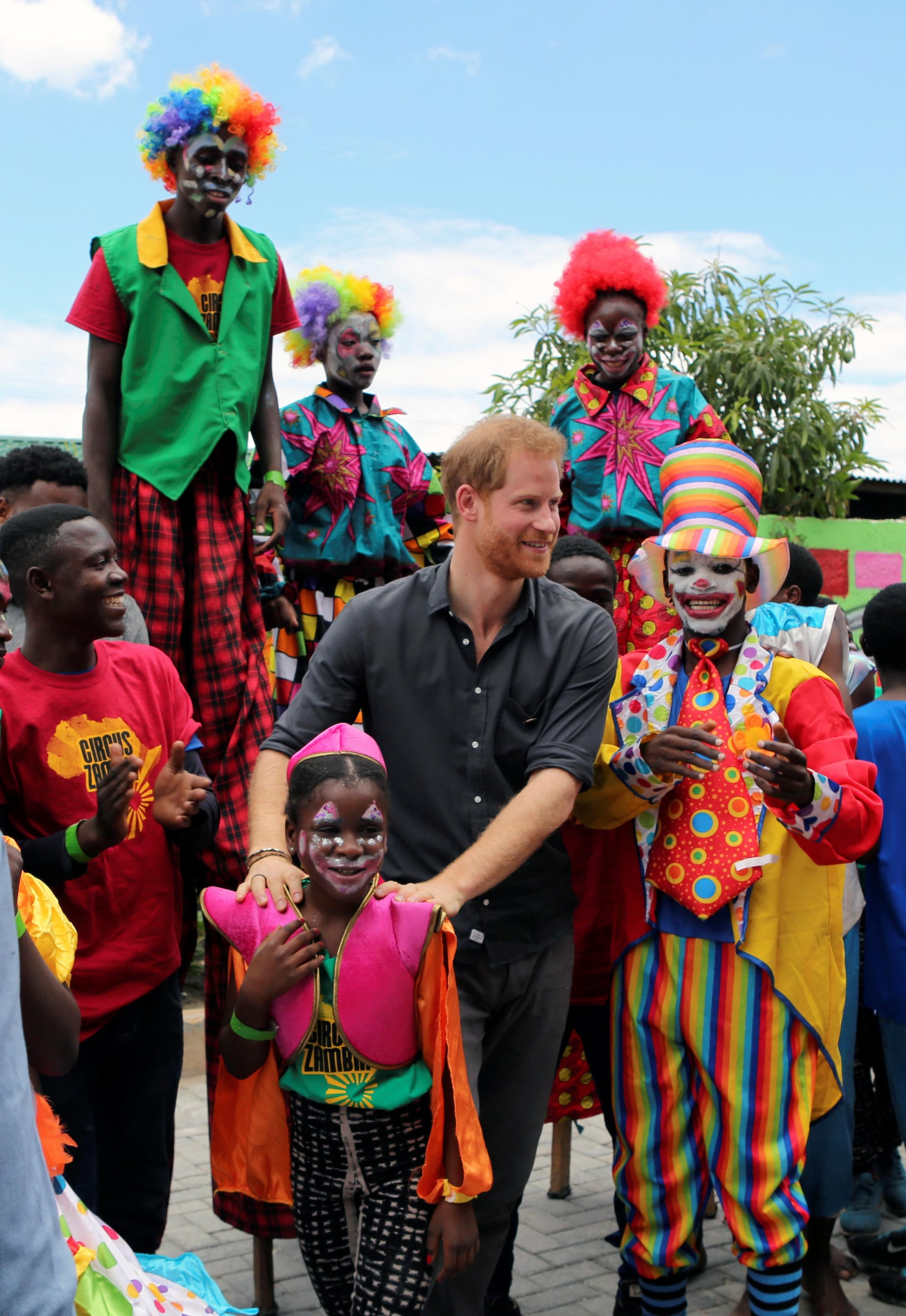 Prince Harry joins the circus in Zambian youth project