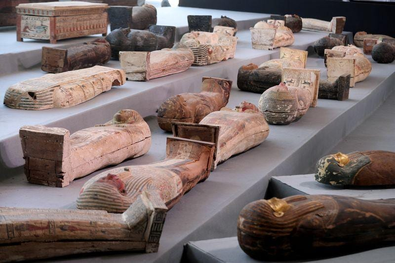 Egypt showcases scores of 2500yearold coffins